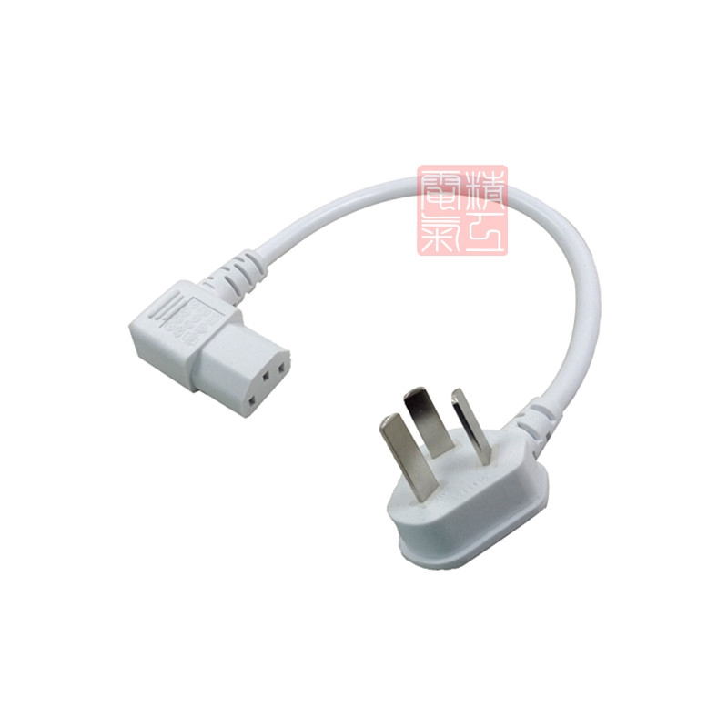 Elbow Design 3 Prong Plug PC Portable Power Cord Computer IEC320 C13 Short Cable 20cm Left Angled
