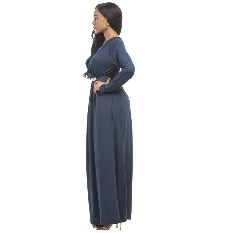 95e8ca02e4e Jessie Vinson Fashion Women Solid Long Sleeve Deep V neck Maxi Dress  Elegant Engagement Party Long Dress Plus Size Loose Vestido-in Dresses from  Women s ...
