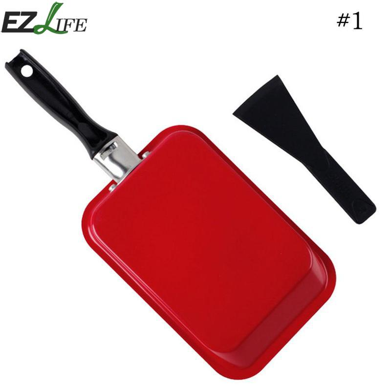 1 Pcs Mini Non-stick Red Green Rectangle Grill Pan Carbon Steel Omelette Grilled Fish Bacon Family Kitchen Frying Pans CFA3948