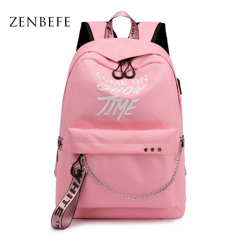 ZENBEFE Pink Backpacks Waterproof School Bag For Girl Reflective Come On Show Time Letters Backpack USB Charging Travel Rucksack