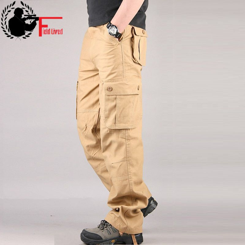 42 44 Plus Size High Quality Men's Cargo Pants Casual Men Pant Multi Pocket Military Overall Straight Male Combats Long Trousers