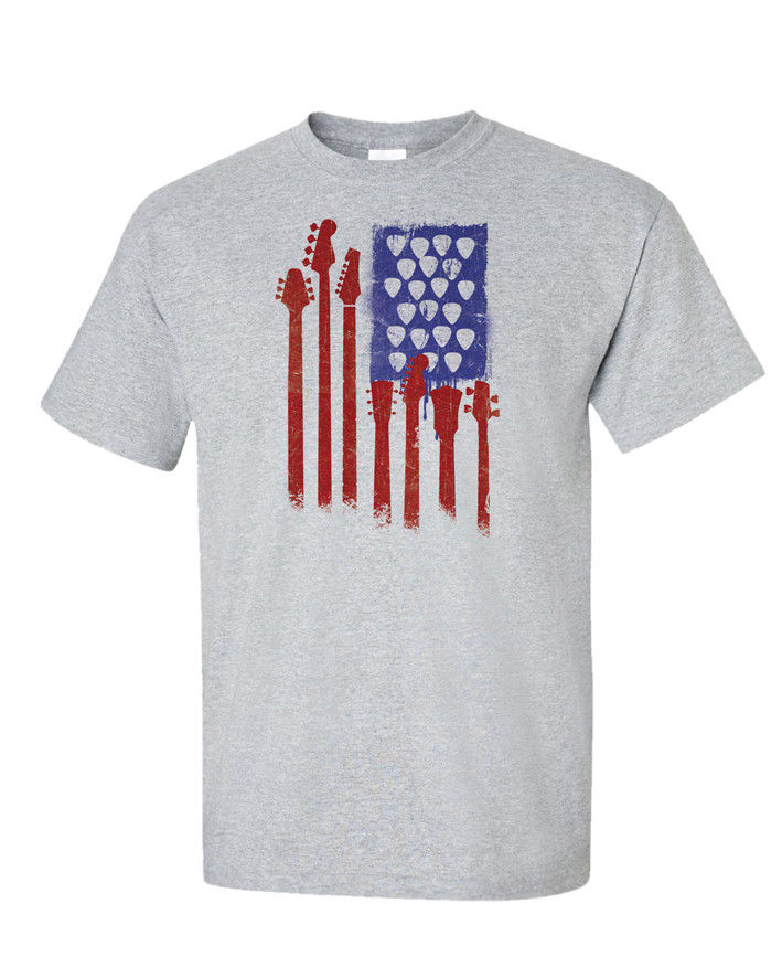 American Flag T-Shirt Guitar Bass Picks Funny Gift Idea Music Men Tee Rock USA Printing Casual T Shirt MenS Tees