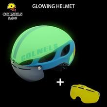 2018 New COLNELS Bicycle Helmet luminous MTB Bike Helmet Adult Goggles glasses Cycling Helmet Casco Ciclismo Capacete