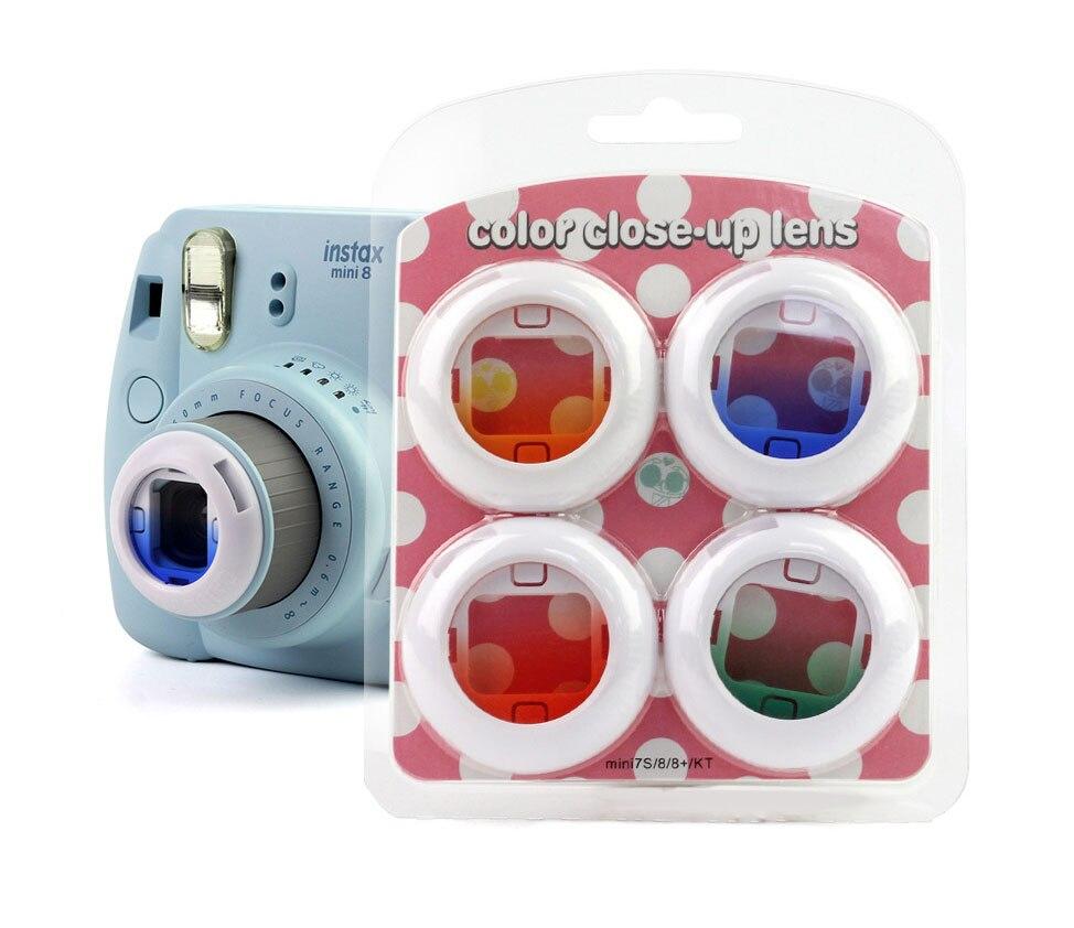 Cheap Polaroid Camera | 4PCS Gradient Color Camera Lens Filter Set Close Up Lens For Fuji Fujifilm Instax Mini 8 7s 8+ Kitty Instant Shooting Camera