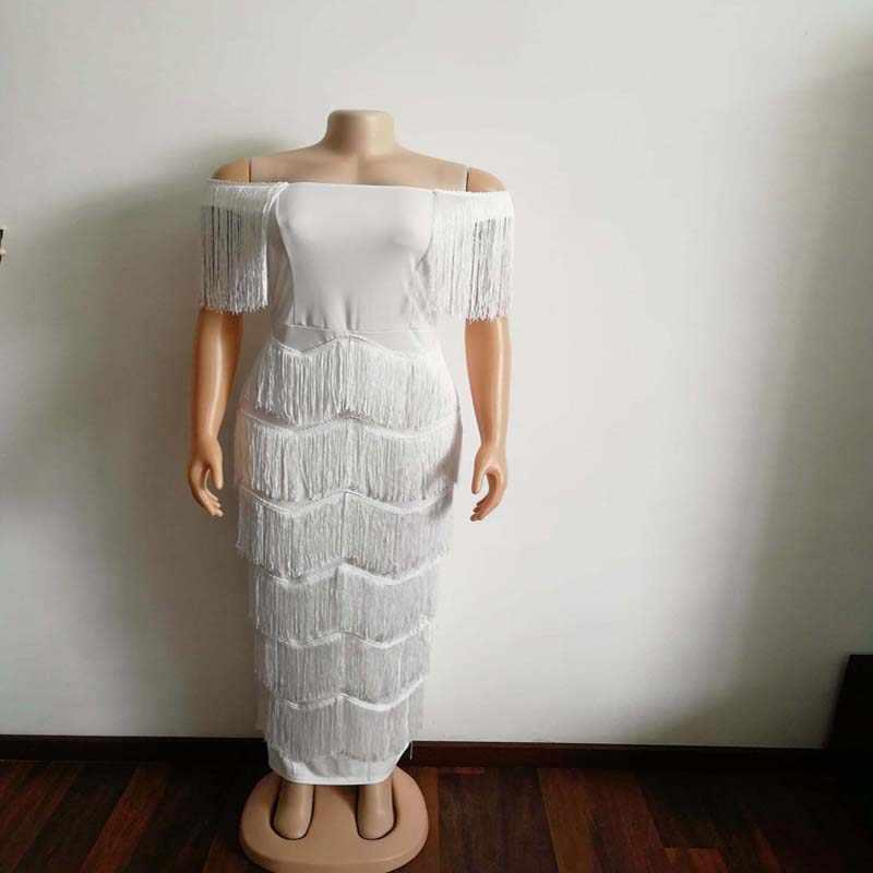 Afrikanische Kleidung Elegante Quasten Bodycon Kleid Frauen 2019 Sommer Slash Neck Weiß Bandage Lange Maxi Kleid Robe Paty
