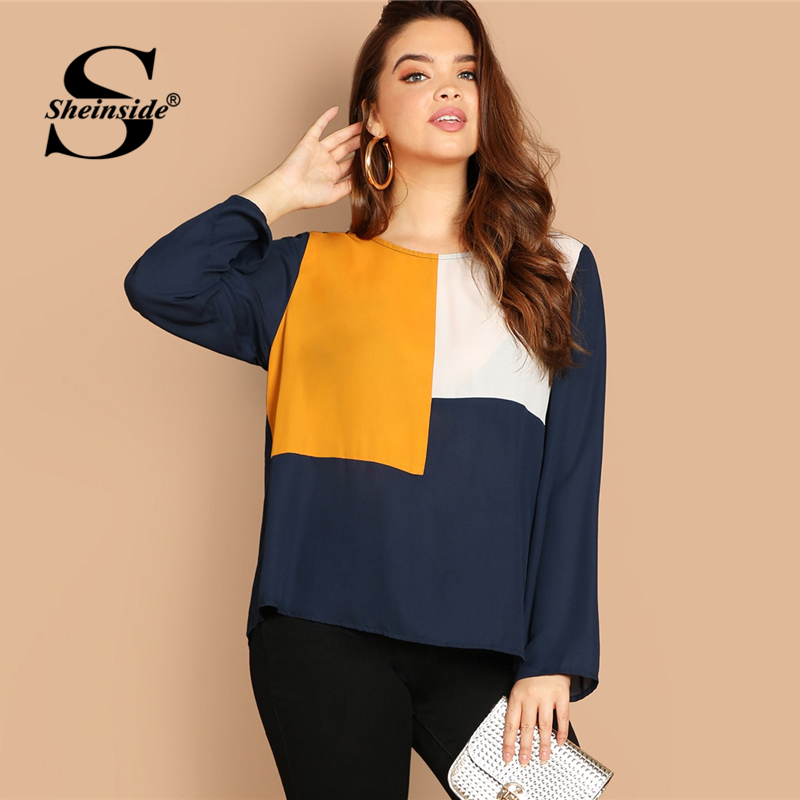 Sheinside Plus Size Colorblock Keyhole Back Top Women   Blouse     Shirt   2019 Ladies Autumn   Shirts   Long Sleeve Womens Tops And   Blouses