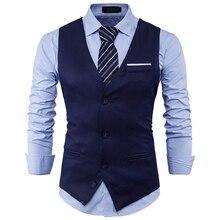 Mens Suit Vest 2017 Sleeveless Male Waistcoat Slim Fit Vest Waistcoat Business Wedding Classic Colete Masculino Social Blazer