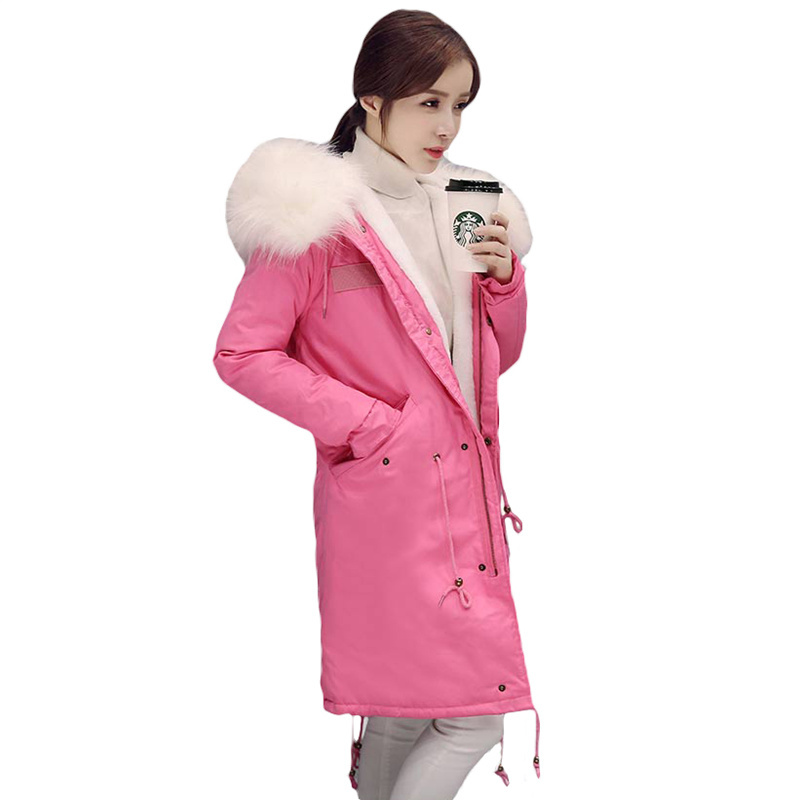 2017 Women Winter Jackets New Large Fur Collar Hooded Cotton Padded Overcoat Girls Long Coat Thick Warm Winter Coat Female L441 new arrival 2017 winter jackets women wadded coat female thick warm overcoat large fur collar hooded long parkas plus size ok445