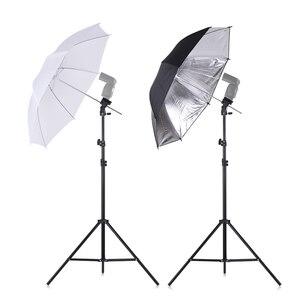 Image 4 - Andoer caméra Double Flash chaussure montage pivotant doux parapluie Kit doux parapluie + pied de lumière + Shoemount + support de Type B + sac de transport
