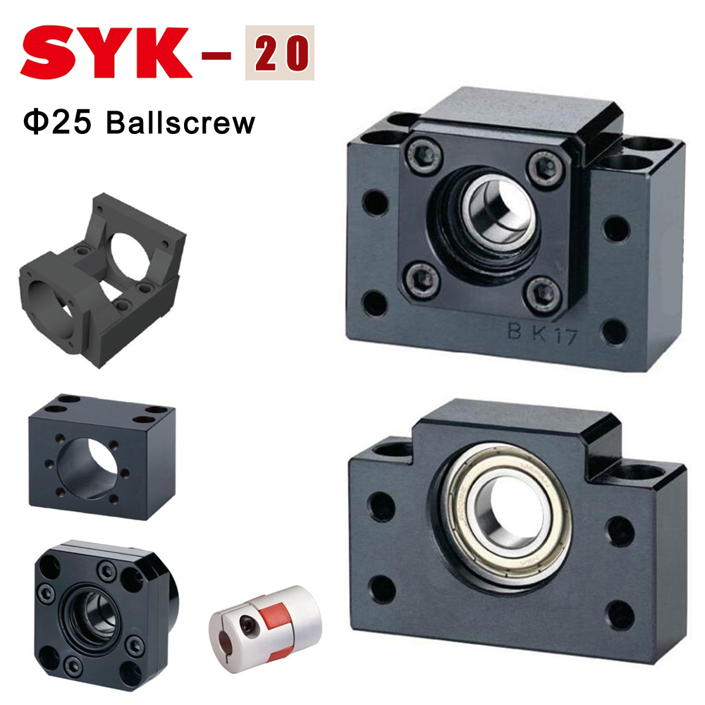 SYK BF20 BK20 End Support Unit FF20 FK20 FKA20 MGD25 MBL2 MBA20-D NL8C NL8S-D65 Motor Bracket Nut Housing for Ballscrew SFU2505