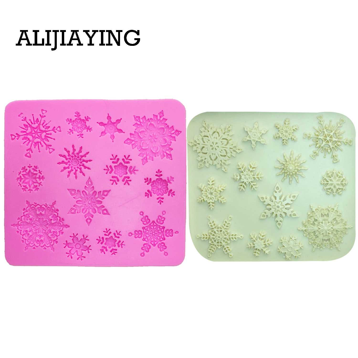 M0026 Christmas snowflakes Sugarcraft silicone mold cake decorating tools dessert decorators moulds Fimo Polymer Clay Resin