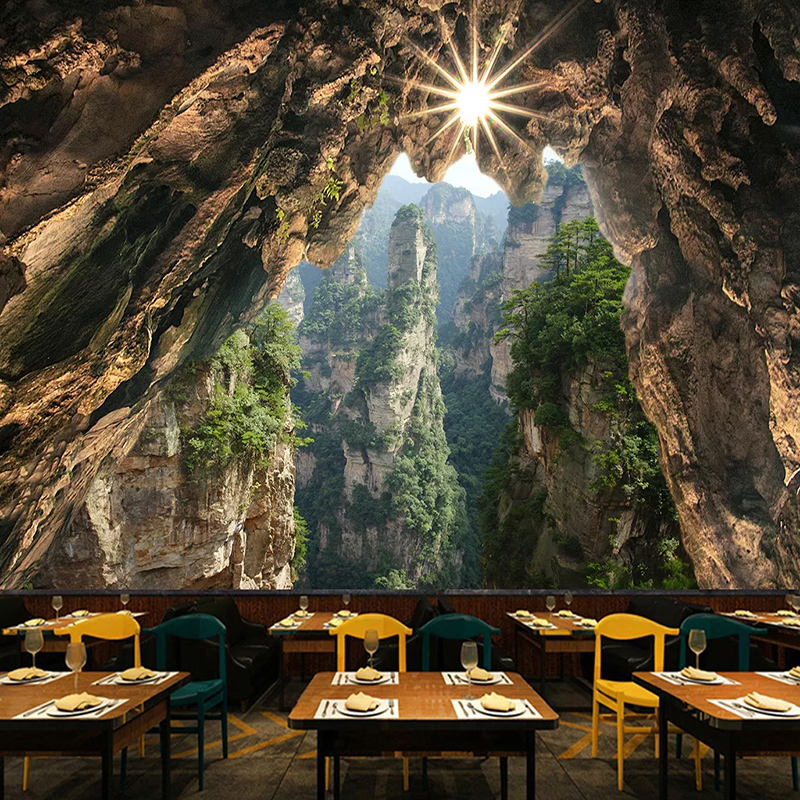 Custom Self-Adhesive Mural Wallpaper 3D Stereo Cave Stone Wall Cliff Forest Fresco Restaurant Cafe Waterproof Canvas 3D Stickers