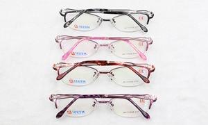 Image 2 - BCLEAR יפה נשים עין חתול סגנון מתכת סגסוגת משקפיים חדש חצי מסגרת נקבה eyewear שחור ורוד סגול אדום צבע חם 1012