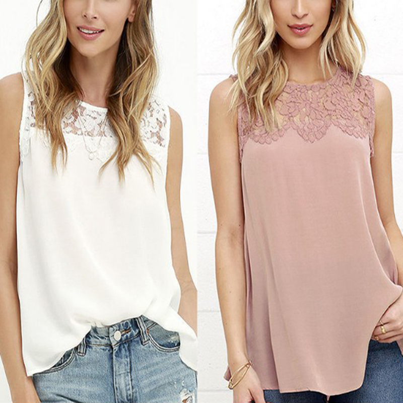 Summer Office Women   Shirts   Floral Lace Chiffon   Blouse     Shirt   Sleeveless Top   Blouses     Shirts   Female Crochet Tops Pink White
