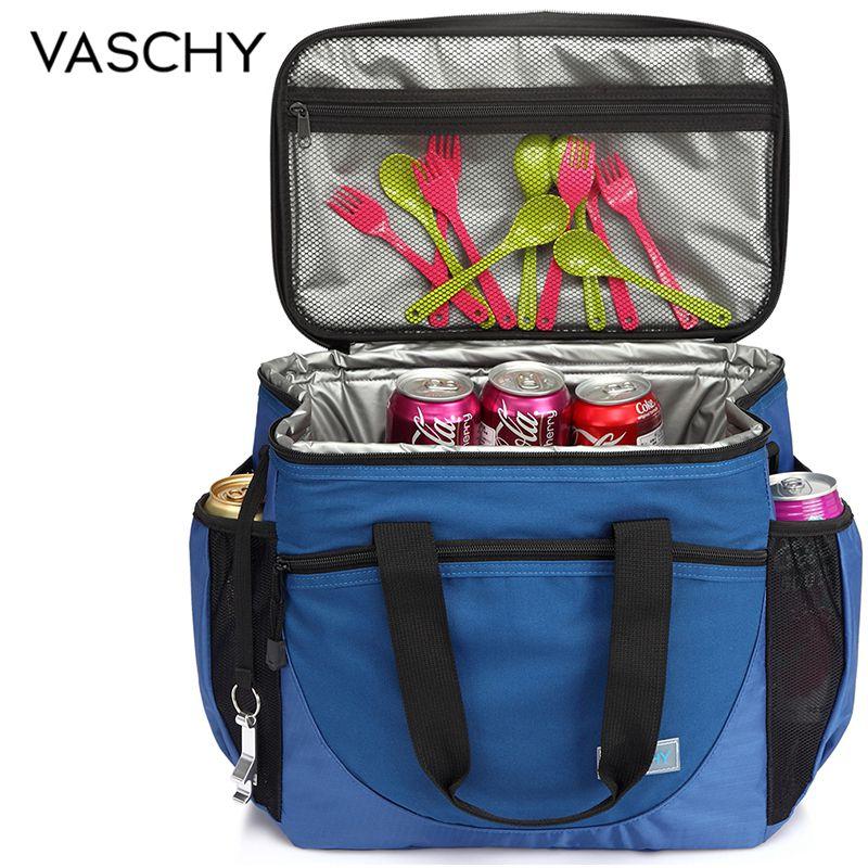 VASCHY Large Cooler Bag 23L Insulated Leakproof Picnic Lunch Bag Multi-Pockets Detachable Shoulder Strap Ice Pack Cooler Box