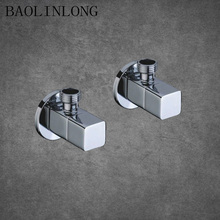 BAOLINLONG Brass Square Kitchen Bathroom Accessories Angle Valve for Toilet Sink Basin Water Heater Angle Valves 2 pcs 1 2 male x 1 2 male brass bathroom angle stop valve chrome copper tap toilet bathroom basin laundry