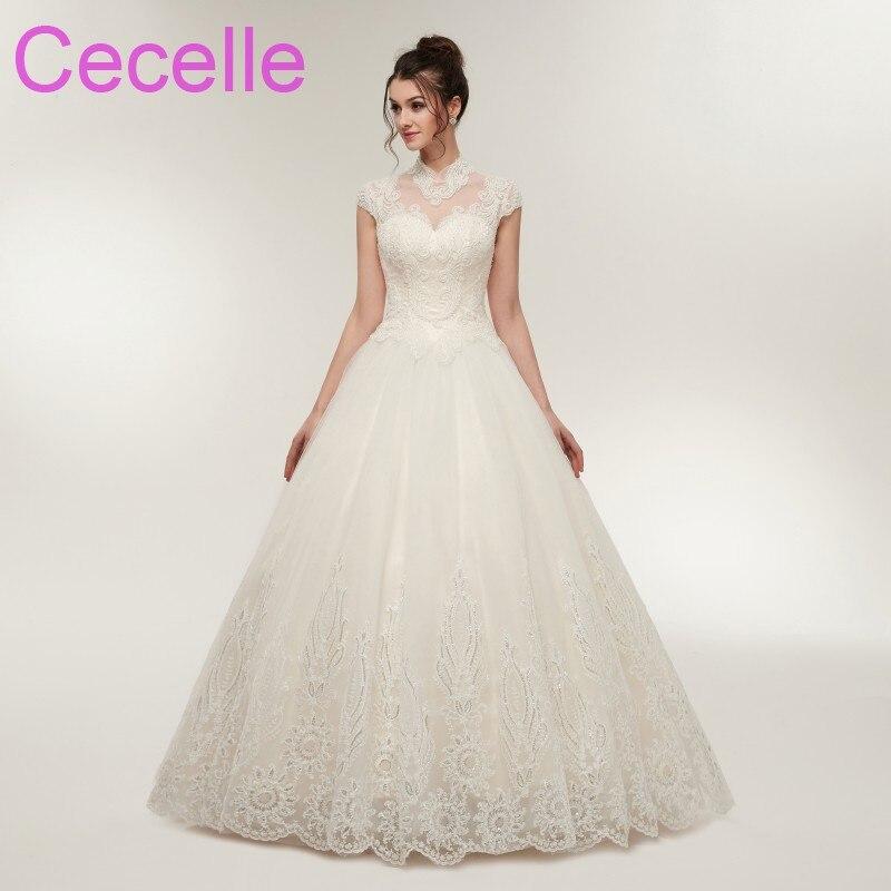c88314f06882 2018 New Designer Ball Gown Wedding Dresses Cap Sleeves High Neck