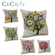 Cotton Linen Decorative Pillow Cover Home Pillowcases Seasons Trees Cushion Sofa Bedroom