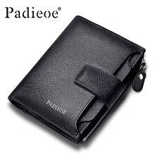 Padieoe new fashion mens wallet leather genuine luxury brand small wallet zipper short men s leather