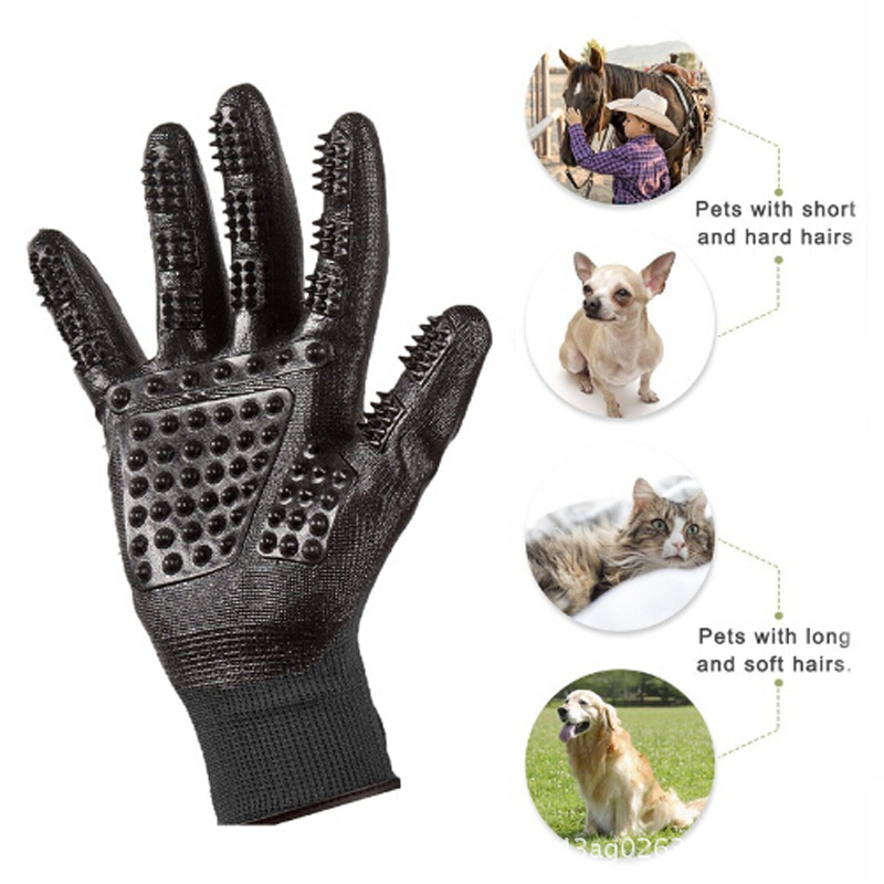 Gentle Rubber Left & Right Hand Pet Grooming Gloves Pet Hair Remover Shedding Bathing Ma ...