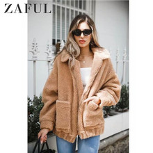 ZAFUL Faux Fur Jacket Women Fluffy Shaggy Winter Coat Bomber Jackets Coats Turn-down Collar Zipper Women Outerwear Ladies Tops все цены