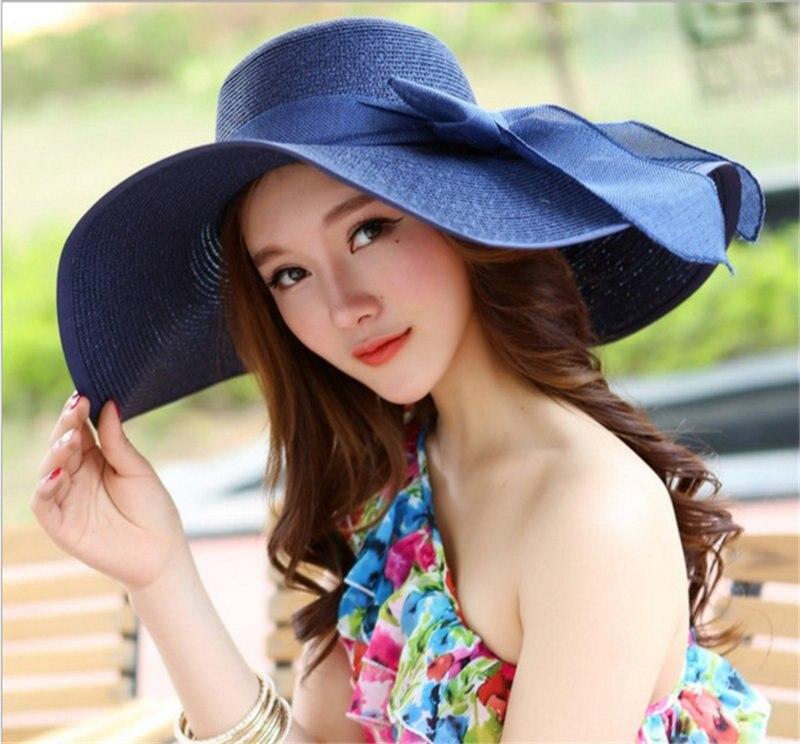 d50d11125f098 Hot Sale Fashion Bowknot Summer Foldable Sun Hat Beautiful Women Straw Beach  Hat Large Brimmed Hat Aa0096