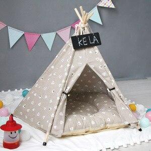 Image 2 - JORMEL Pet Zelt Hund Bett Streifen Muster Mode 2019 Enthalten Matte Katze Spielzeug Haus Tragbare Waschbar Pet Tipi