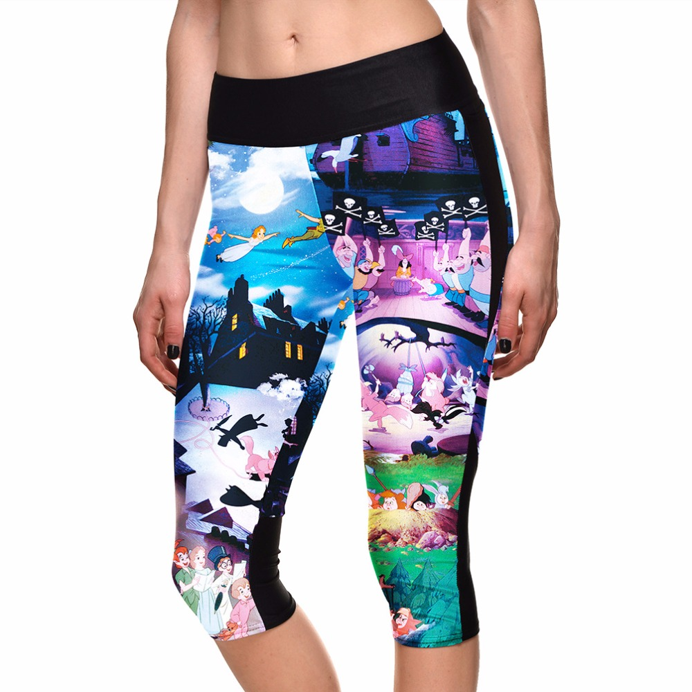 Womens Cute Cartoon Summer Capris Cartoon 3D Print Girls Capris Elastic S To 4xL Plus Size Blue Pants 3 Patterns
