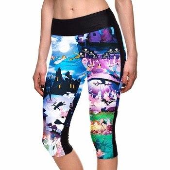Womens Cute Cartoon Summer Capris Cartoon 3D Print Girls Capris Elastic S To 4xL Plus Size Blue Pants 3 Patterns фото