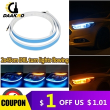 Turn Signal Dual Color LED Strip Light White Yellow High Flexibility DC 12V 6000K 4500K Flowing Lamp Light Universal