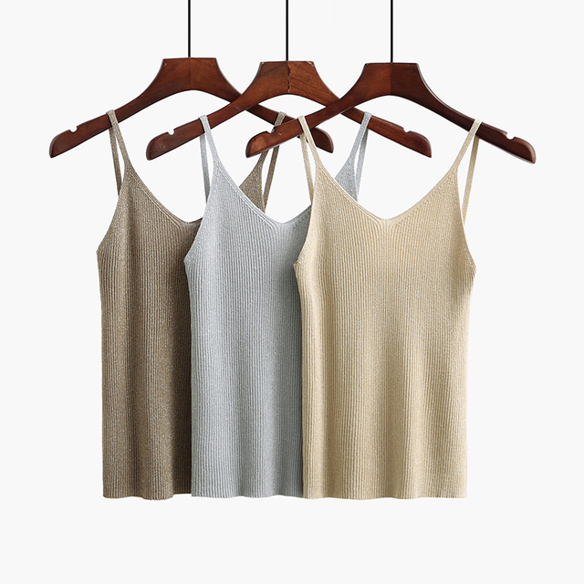 5e1d7363db4 ... Knitted Tank Tops Gold Thread Top Vest Summer Camisole Women off white  tank top fitness femme t shirt. Previous. Next