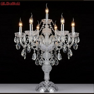Image 5 - 7 머리 luxruy e14 촛불 크리스탈 테이블 램프 패션 크리스탈 테이블 램프 거실 램프 침실 램프 k9 상단 크리스탈 테이블