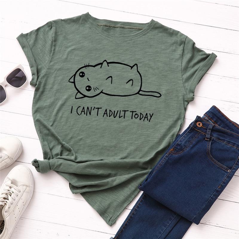 Plus Size S 5XL New Lovely Cat Letter Print T Shirt Women 100 Cotton O Neck