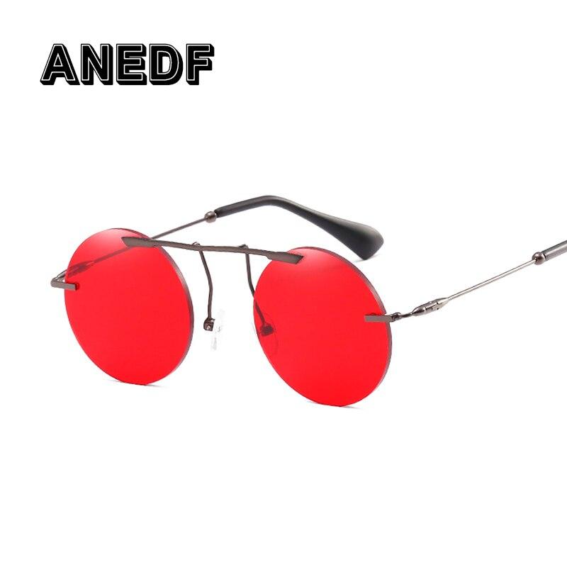 36afb2ca0a ANEDF redondo rojo lente gafas de sol-de las mujeres de los hombres de moda  gafas de marca de diseñador Vintage gafas de sol UV400 gafas 2018