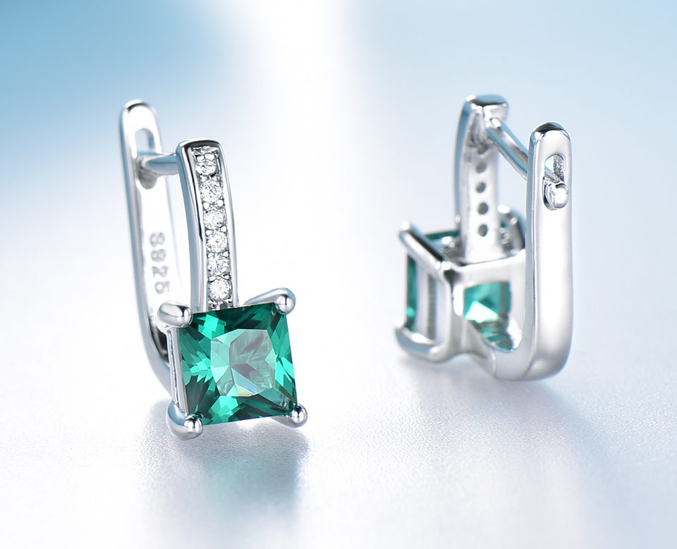 HTB1Fya8XPnuK1RkSmFPq6AuzFXav UMCHO Created Green Emerald Gemstone Clip Earrings For Women Solid 925 Sterling Silver Anniversary Gifts For Women Accessories