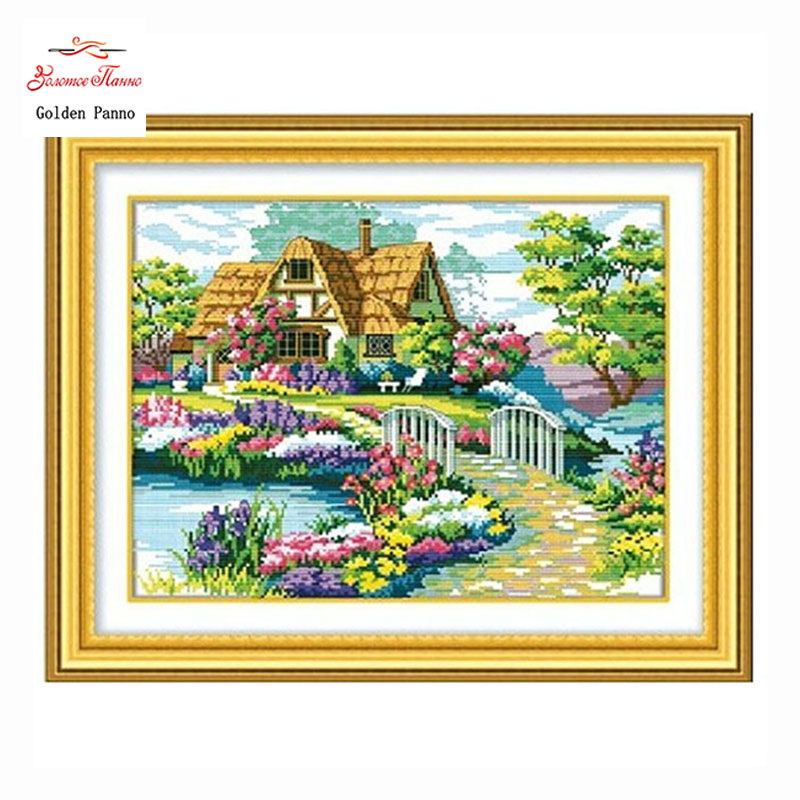 Golden Panno, Jahitan, Sulaman, Lukisan Landskap DIY, Cross stitch, kit, pemandangan 11ct rumah Cross-stitch, Set Sulaman