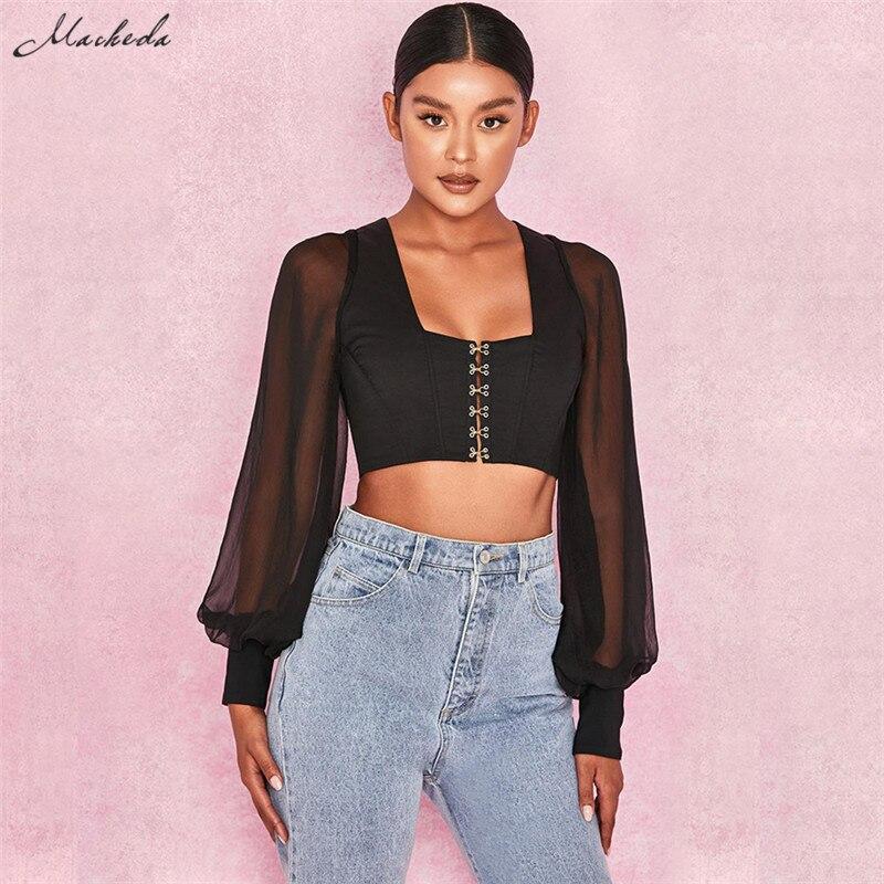 Macheda Sexy Black Square Neck Crop Top Womens Buckle Slim Basic Tank Top 2018 New Streetwear