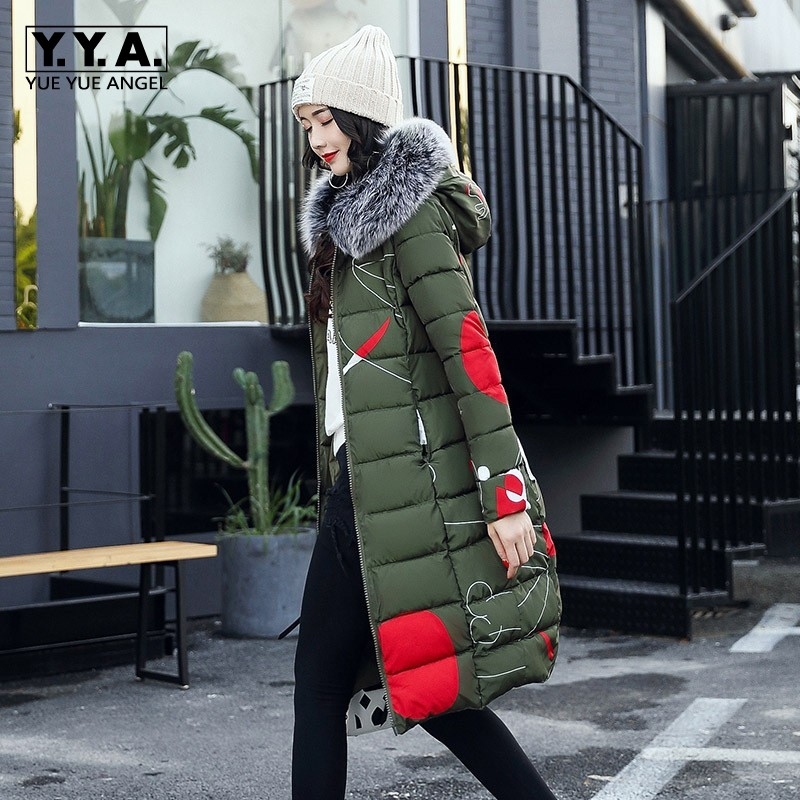 Fashion Reversible Female Jackets Winter Warm Fur Hoody Overcoat Printed Slim Fit Long Down Jacket Comfort Windbreaker Coats 3XL