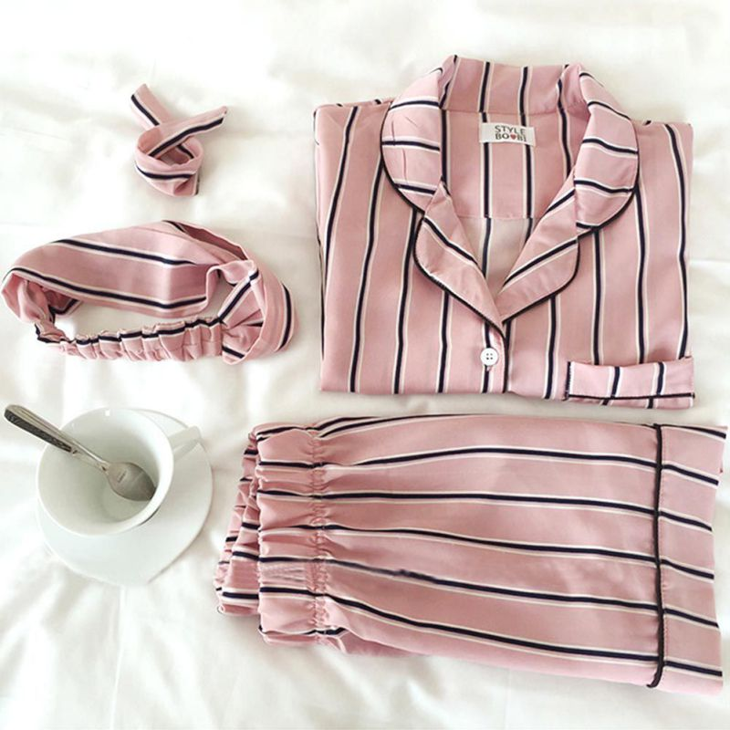 Summer 2019 New Fashion Women   Pajamas   Turn-down Collar Sleepwear pijama 2 Two Piece   Set   Shirt+Shorts Striped Casual   Pajama     Set