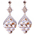 Unique Fish scales Design Crystal Drop Earrings Big Earrings for Women Christmas Prom Wedding Jewelry