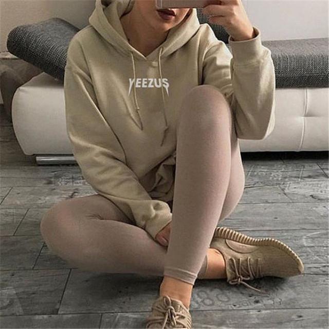 Tire Femme Harajuku Ulzzang Sudadera Con Capucha Mujeres Tumblr Caqui Carta Yeezus Hoodie Impreso 2017 Otoño Moda Loose Pullover