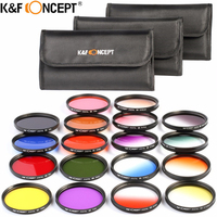 K&F CONCEPT 52 58 67mm 18pcs Graduated and Full Color Lens Filter Kit Orange Blue Grey Red Purple Green Brown Yellow Pink Filter