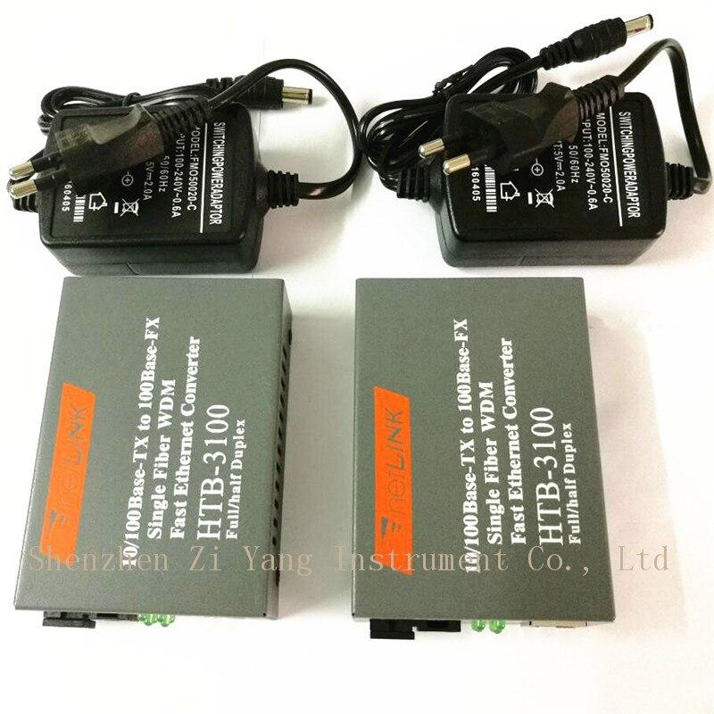 Convertidor de fibra óptica Htb-3100ab convertidor de fibra Media convertidor de fibra única 25 km SC 10/100 M monomodo fibra única 1 par