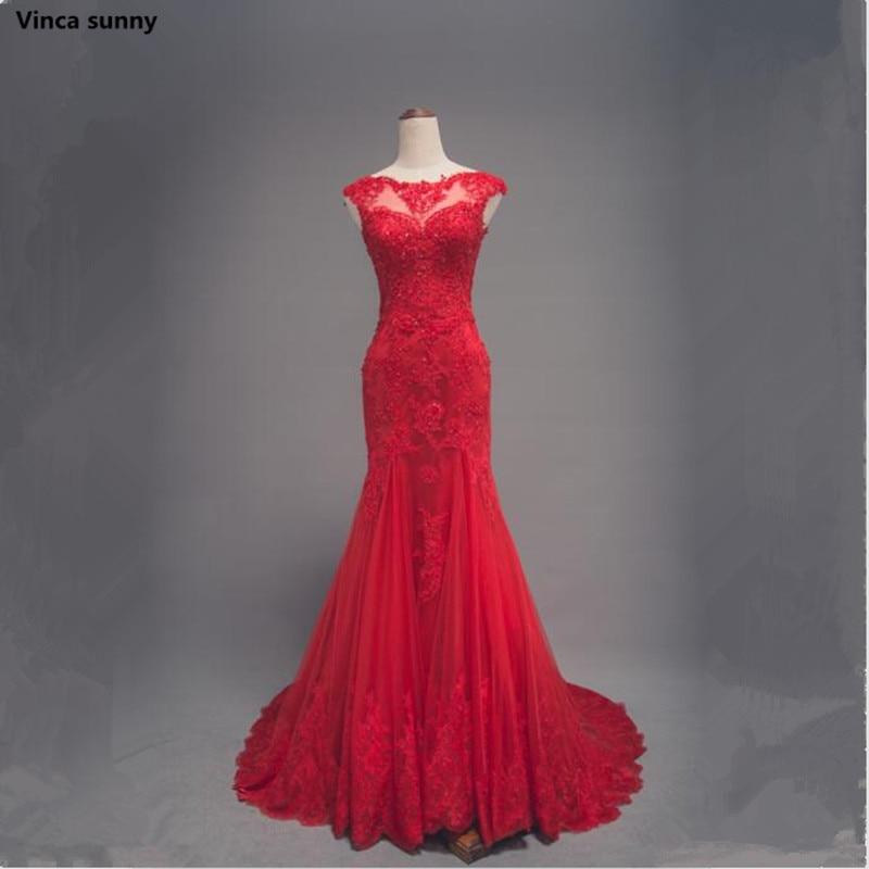 Vinca sunny Elegant Beaded Lace Appliques Mermaid Long Evening Dresses 2018 Scoop Neck Prom Party Dress Robe De Soiree Longue
