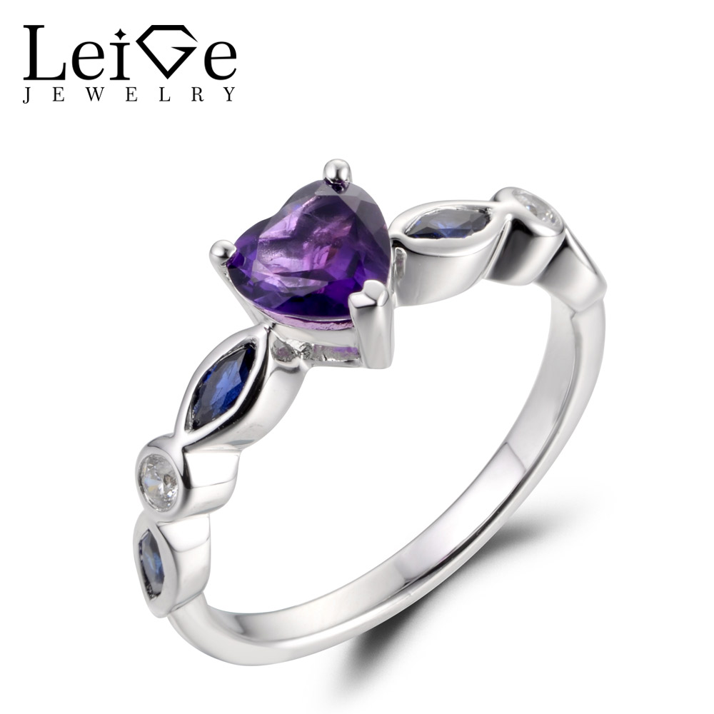 LeiGe Jewelry Natural Amethyst Rings Unique Proposal Rings February Birthstone Heart Cut Purple Gemstone 925 Sterling SilverLeiGe Jewelry Natural Amethyst Rings Unique Proposal Rings February Birthstone Heart Cut Purple Gemstone 925 Sterling Silver