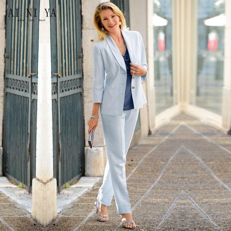 Light Sky Blue Formal Women Elegant Pant Suits Office Uniform Work Wear Casual 2 Piece Sets Tops And Pants Female Trouser Suit