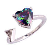New  Women Rings Cupid Arrow Heart Love Style Engagement Rainbow Topaz 925 Silver Ring Size 6 7 8 9 10 11Free Shipping Wholesale