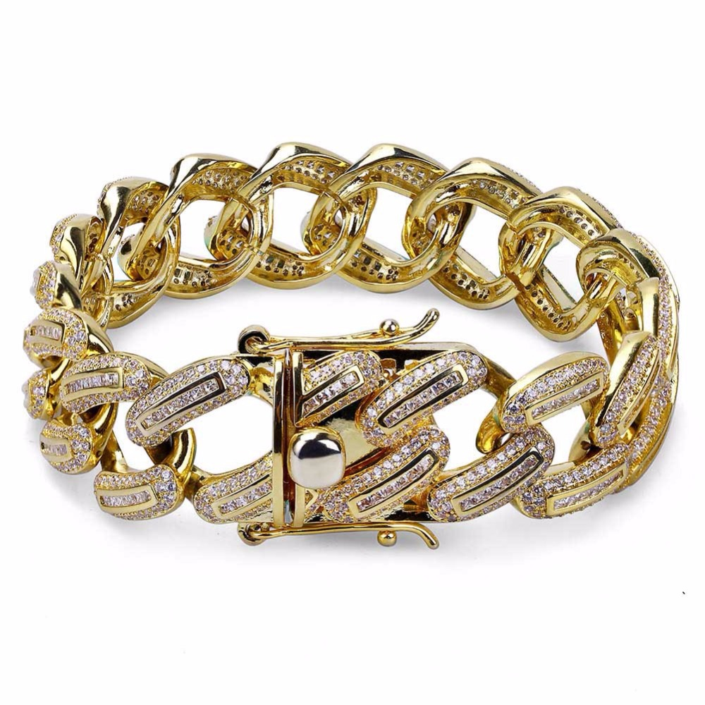 19mm Miami Curb Cuban Chain Bracelet For Men Hip Hop Big Heavy Rock Bling Iced Out Paved Rhinestones CZ Bracelets Rapper Jewelry19mm Miami Curb Cuban Chain Bracelet For Men Hip Hop Big Heavy Rock Bling Iced Out Paved Rhinestones CZ Bracelets Rapper Jewelry