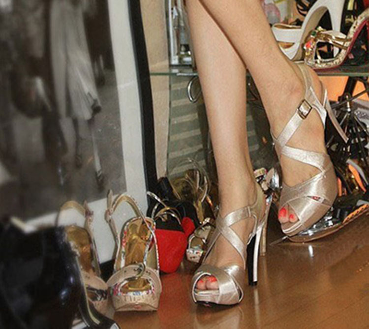 wedding shoes champagne color peep toe high heel sandals sexy bridal dress shoes formal dress shoes - Sandale Colore