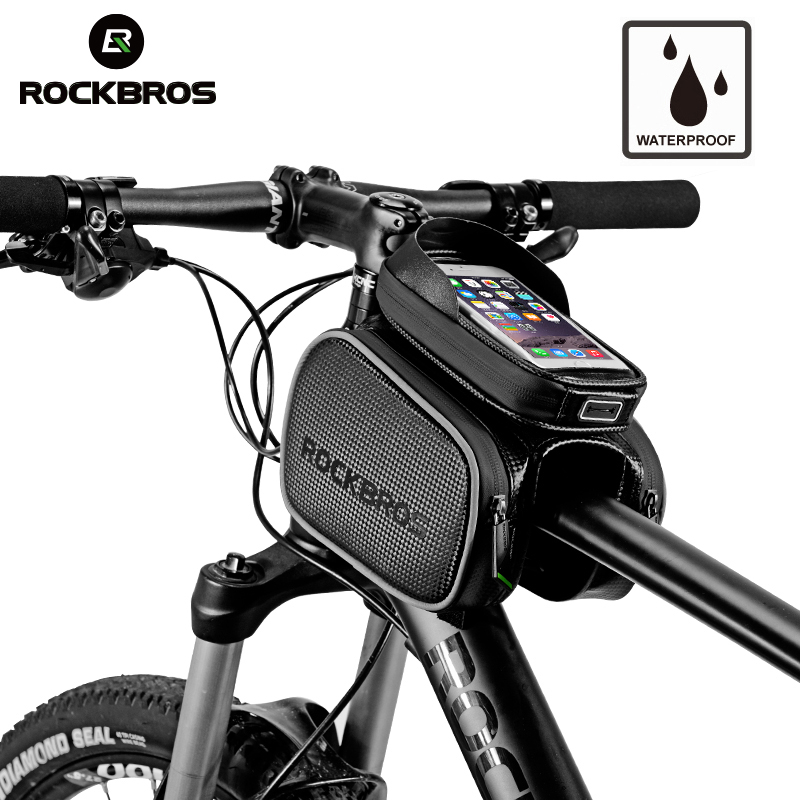 ROCKBROS Cycling Bike Top Tube Bag Rainproof MTB Bicycle Frame Front Head Cell Phone Touch Screen Bag Pannier Bike Accessories bicycle touch screen tube bag bike cycling touch screen mobile phone bag pannier bag